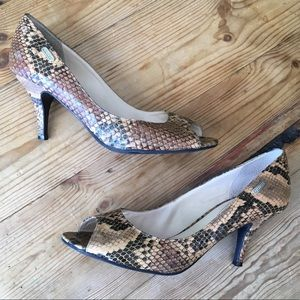 Guess Black & Brown Snake Skin Print Peep Toe Heel